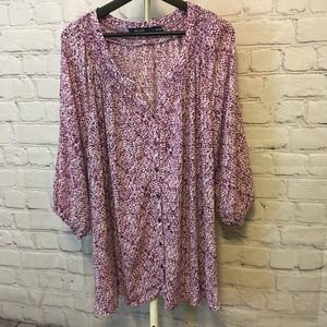 Belted Button Down Blouse- pink/purple